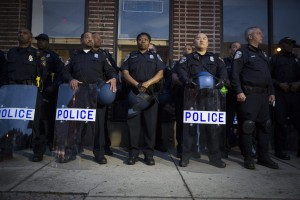 Members of Baltimore's police department. (Photo: John Taggart, EPA)