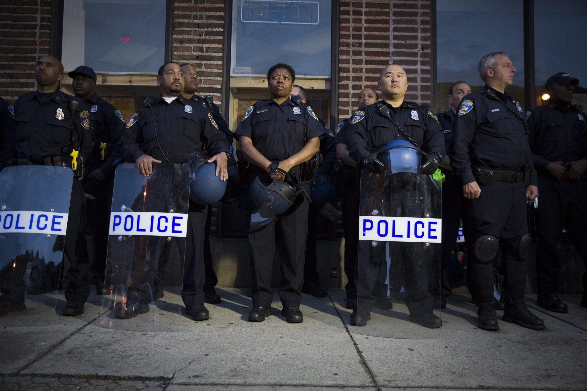 Members of Baltimore's police department. (Photo: John Taggart, EPA)