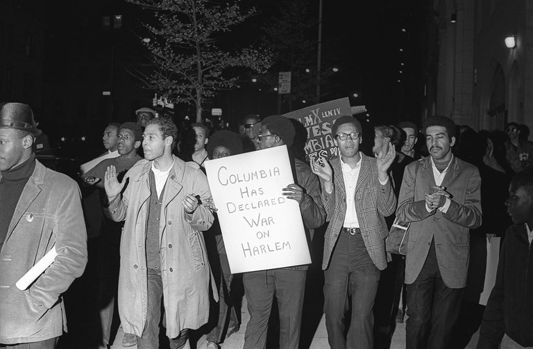 Student protesters, including former Columbia student and Student Afro-American Society (S.A.S.) leader Raymond Brown (second from left). Photo: Richard Howard/From the Collection of Paul Cronin.